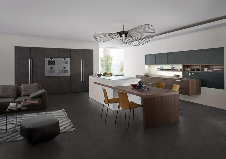 Graue beton optik küche mit insel