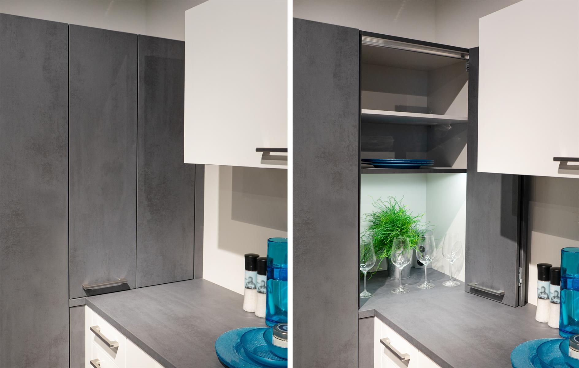 SAAR Küchen Ordnungssysteme Falt-Türen Aufsatzschrank